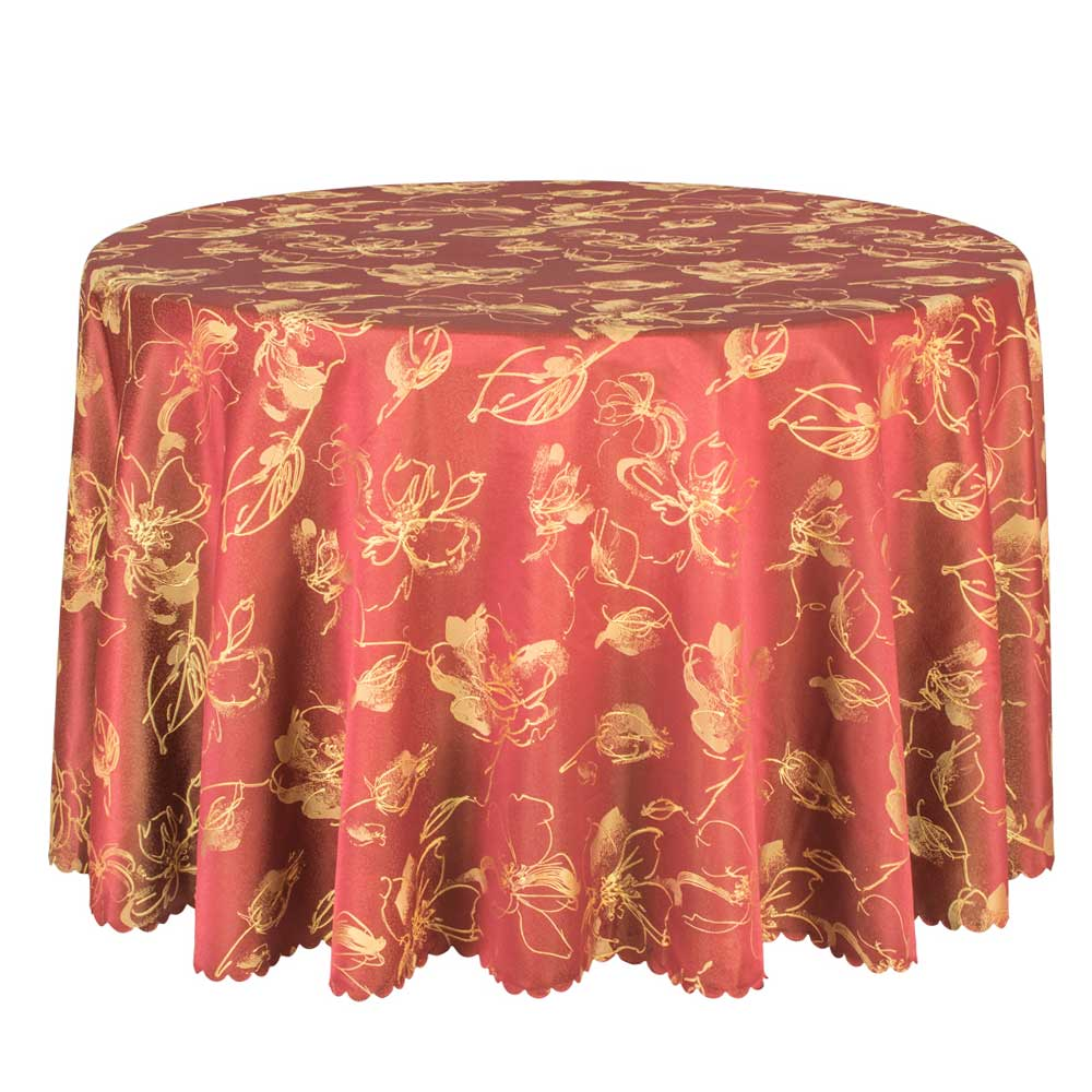 1PCS Hotel Wedding Party Table Cloths Poly Damask Dining Table Cover Round  Red Tablecloth Washable Table