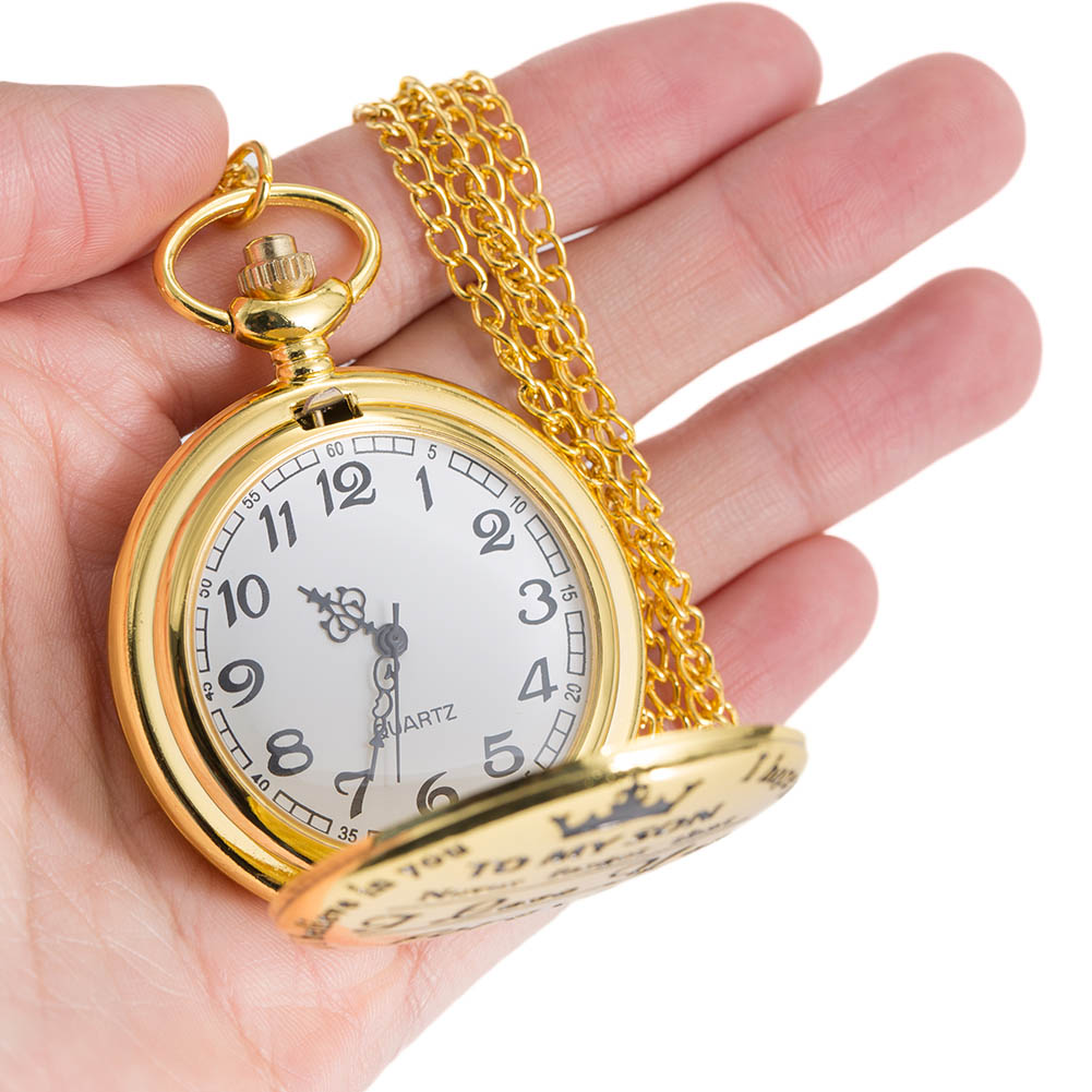 1pc Men Women Electronic Pocket Watch TO MY SON Carved Case With Chain IK88