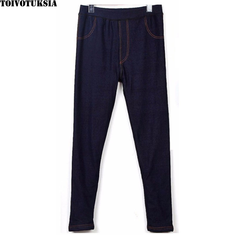 TOIVOTUKSIA Winter   Leggings   Jeans for Women Jeggings Pants Fleece inside Plus Size XL-XXL Thermal Jeggings
