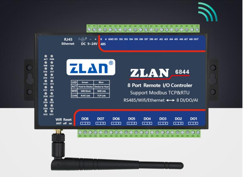 ZLAN6844  RS485 Wifi Ethernet RJ45 8channel DI AI DO RS485 Modbus I/O Module RTU  Data Collector Remote Controller Board Module