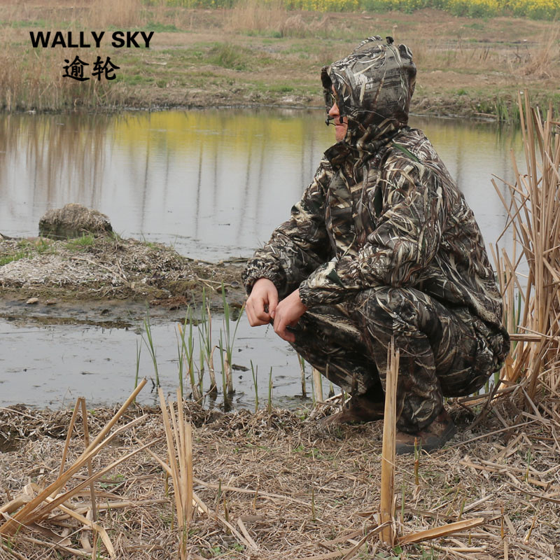 Mens Ghillie Suit Black Reed Camo Hooded Jacket Pants Windproof Water Resistant Camouflage Hunting Clothes