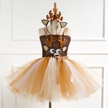 Christmas Deer Tutu Dress Baby Girls Birthday Party Dresses New Year Halloween Animal Costume Cosplay Clothes For Kids With Ears baby girls clothes christmas carnival party costumes vestido red children dresses with feather christmas new year tutu dresses