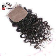 Sunnymay Silk Base Closure Loose Curly Brazilian Virgin Hair  4*4 With Baby Hair Human Hair Closure Free Part