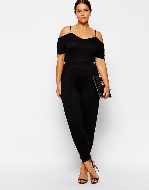 e28d1b086c 6XL Women Black Jumpsuits Shoulder Straps Feet Trousers Plus Size Rompers  Playsuit Women Summer Clothing Female 4XL 5XL