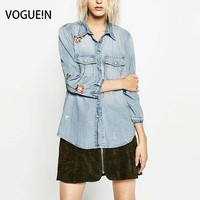 VOGUE N New Womens Ladies Spring Floral Embroidery Denim Blouse Long Sleeve Blue Tops Shirt Outerwear