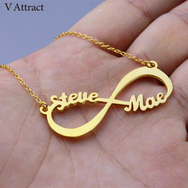 V Atrair Personalizado Nome Colar Handmade Jewelry Infinito Personalizado  Cursiva Pingente Gargantilha em Ouro Rosa de 16622e785e