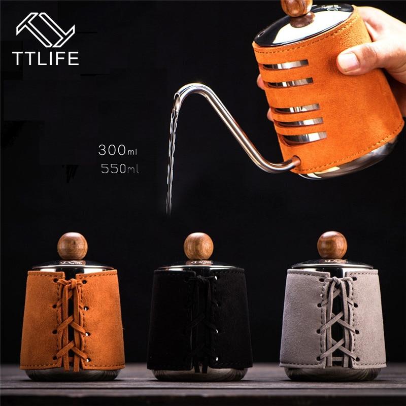 Чайник для кофе TTLIFE из нержавеющей стали, безручный, анти-горячий, 0.3л/0.5л, кофеварка с гусиной шеей, носик, кофейный чайник