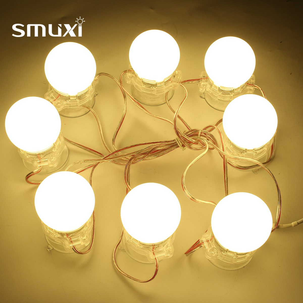 Smuxi Newest 8Pcs DIY Waterproof Makeup Mirror Vanity LED Light Bulbs String Kit for Dressing Home Decoration Warm/Cool White