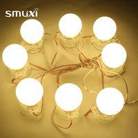 Smuxi Newest 8Pcs DIY Waterproof Makeup Mirror Vanity LED Light Bulbs String Kit For Dressing Home