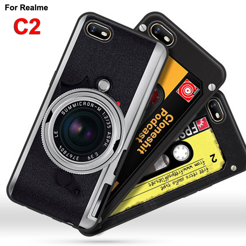 For OPPO Realme C2 Case TPU Soft silicone retro camera phone Cover For OPPO Realme C2 C 2 Casings Real me C2 6.1
