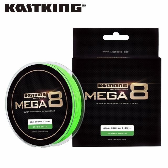 KastKing Mega8 New Braid Line 300Yds/274M 0.14-0.50mm 10-80LB 8 Strands Super Strong Green Braided Fishing Line for Sea Fishing