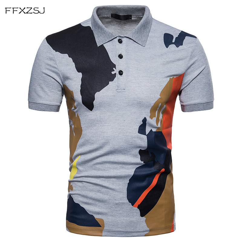 FFXZSJ 2018 high quality summer fashion men's casual simple European Code camouflage printing Lapel short sleeve   POLO