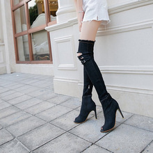 цена на 2019 Women Boots Super High Heels Shoes Zapatos De Mujer Solid Color Over-the-Knee Fish mouth Cool Boots Open toe EUR35-41
