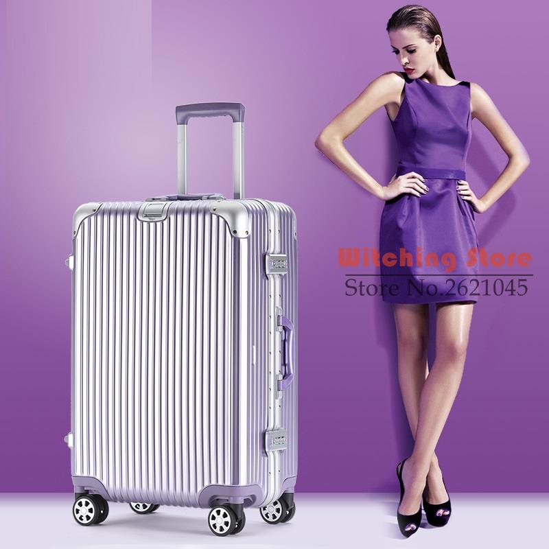 26 INCH  20242629# Rose gold aluminum 20 24 box 26 universal wheel men and women 29 password trunk suitcase #EC FREE SHIPPING 24 inch 20242629 direct aluminum frame rod universal wheel luggage suitcase board box bags and one generation ec