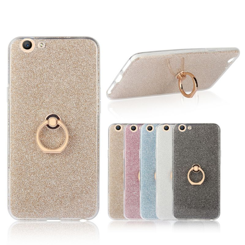 For Oppo A59 Case 5.5 inch Transparent Soft TPU Case Glitter Metal Ring back cover For Oppo F1s A59M Case