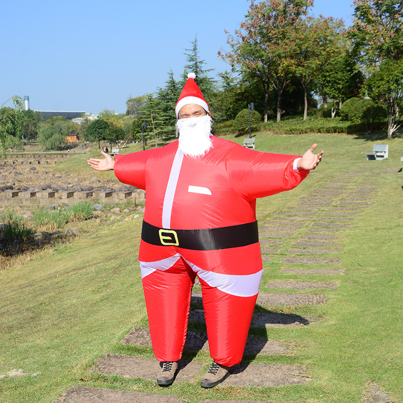 Merry Christmas Santa Claus Inflatable Jumpsuit Cosplay Costume Adult Funny Party Costume