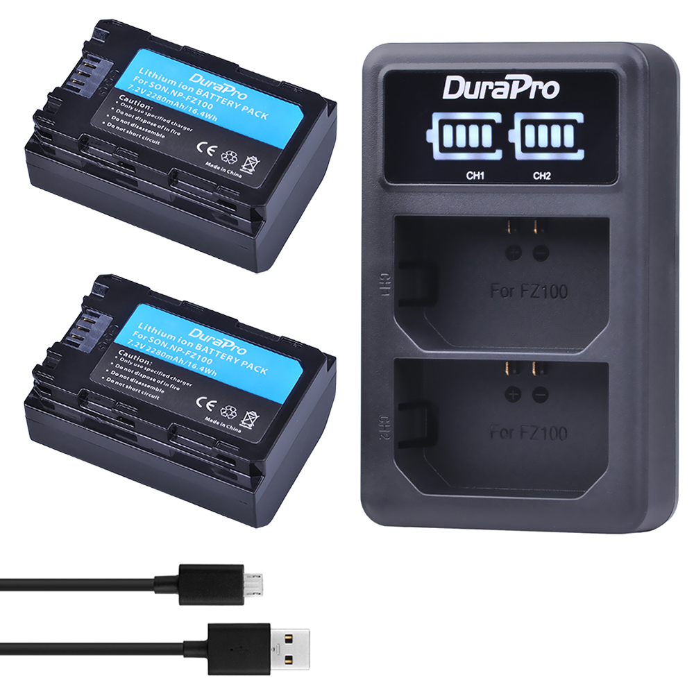 2PC 2280mAH NP FZ100 Battery + LED Charger for Sony NP-FZ100 BC-QZ1 Alpha 9, A7RIII, ILCE-7RM3 for Sony A9, A9R, Alpha 9s Camera 3x 2280mah np fz100 npfz100 np fz100 battery for sony a9 a9r 9s bc qz1 alpha 9 ilce 9 a7r ilce 7rm3 a7 iii ilce 7m3 ilce 7m3k