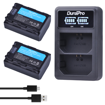 2PC 2280mAH NP FZ100 Battery + LED Charger for Sony NP-FZ100 BC-QZ1 Alpha 9, A7RIII, ILCE-7RM3 for Sony A9, A9R, Alpha 9s Camera