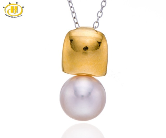 Hutang Pink Freshwater Pearl Solid 925 Sterling Silver Pendant Necklace Fine Jewelry (9-9.5mm)