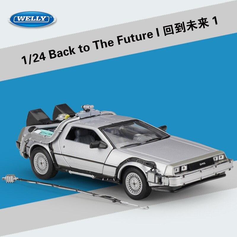 WELLY 1:24 Diecast modelo de coche DMC 12 tiempo Delorean máquina de vuelta a el futuro Metal coche de juguete coches chico regalo de juguetes de colección