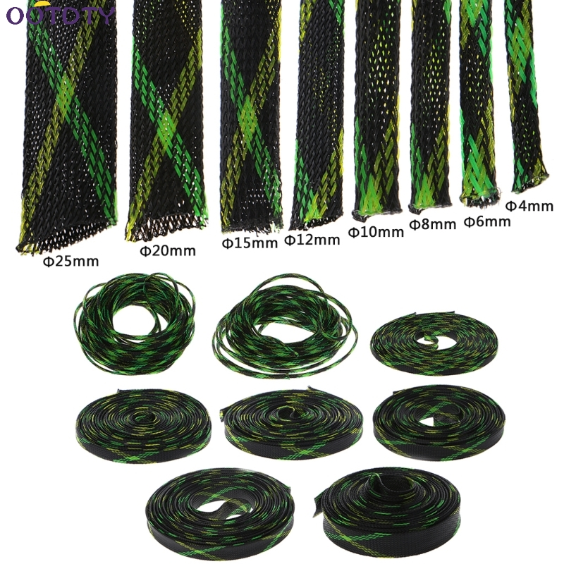 4-25mm 5M PET Braided Expandable Cable High Density Wire Sleeving Sheath Black+Yellow+Green 8 size