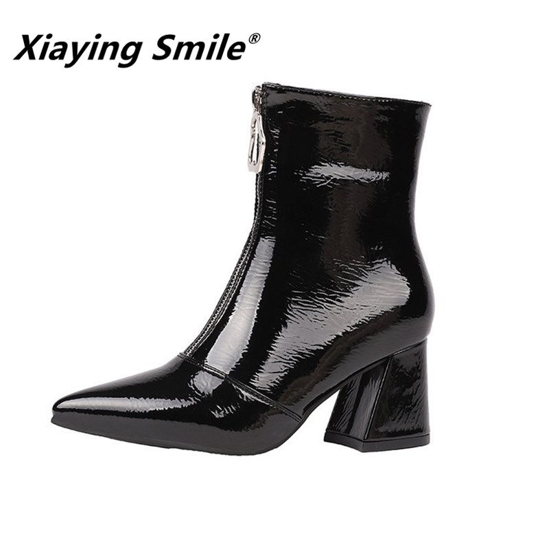 Xiaying Smile Hot Sale Women Ankle Boots Internet Celebrity Style Pointed Toe Solid Shoes Ladies Fahsion