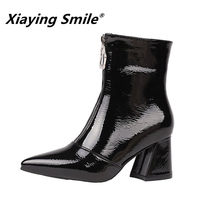 Xiaying Smile Hot Sale Women Ankle Boots Internet Celebrity Style Pointed  Toe Solid Shoes Ladies Fahsion 66d8097b0922
