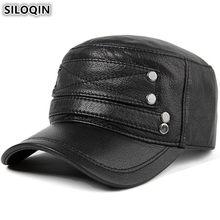 SILOQIN New Style Men s Flat Cap Adjustable Size Genuine Leather Hat Autumn  Winter Warm Baseball Caps Sheepskin Male Brands Hats 5b32e863f395