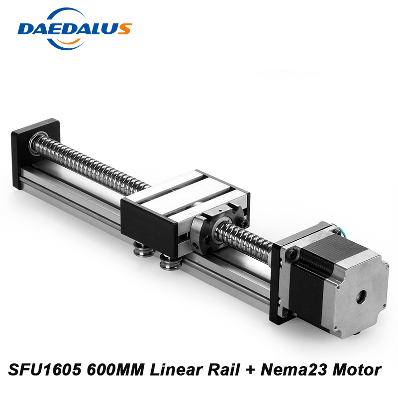 CNC Linear Rail For Kossel Mini Cnc Kit Sfu1605 Linear Guide Rail 16 Cnc 600mm Stage + 23 Nema Stepper Motor cnc linear rail r165371420 page 4 href
