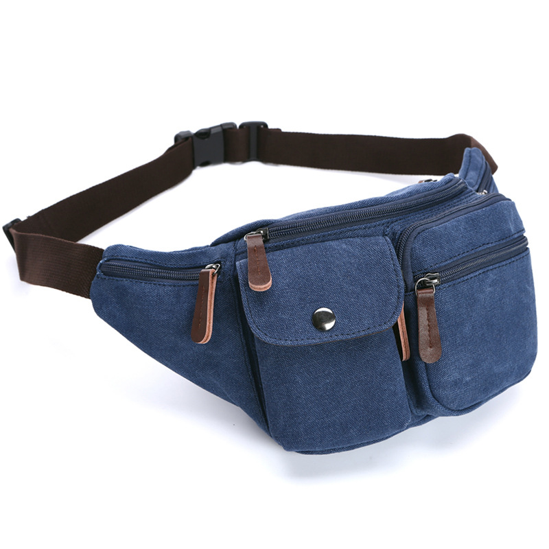 2018 Men Casual waist pack Fanny Pack Bum chest bags Waist Bags Belt Canvas New Hip Military Bag Pouch Two Zipper Pockets