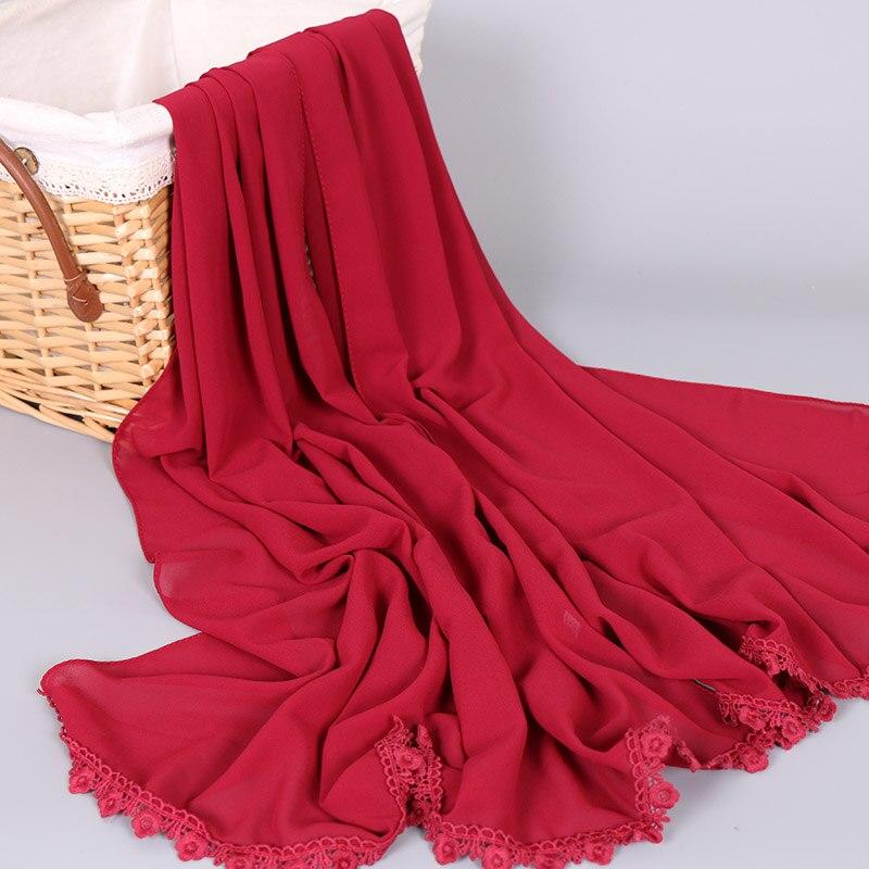 Ladies high quality bubble chiffon lace shawls muslim hijab flower   scarves   plain   wraps   headband long fashion   scarf   180*73cm
