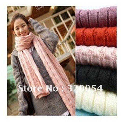 Бесплатная доставка, 2012 Новый стильный шарф, шерстяной платок, утолщение, мохер вязаный шарф, розовый, красный, черный, бежевый, светло-серый, оптовая продажа