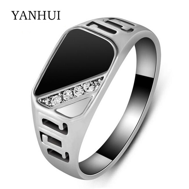 YANHUI Classic Gold Color Rings For Men Inlay Antique Natural Black Stone  CZ Engagement Wedding Ring