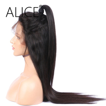 ALICE Wig 26″-28″ Human Hair Full Lace Wigs Black Women Straight Brazilian Remy Hair Pre Plucked Bleached Knots