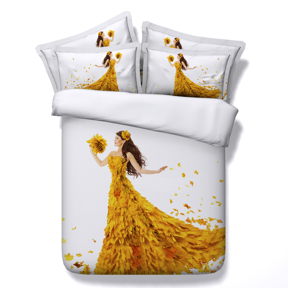 Beautiful 3d Golden Sea Mermaid And Pirate Ship Bed Set Girls Bedlinens Set Comforter Bedding Sets Duvet Cover Set King Size Solar