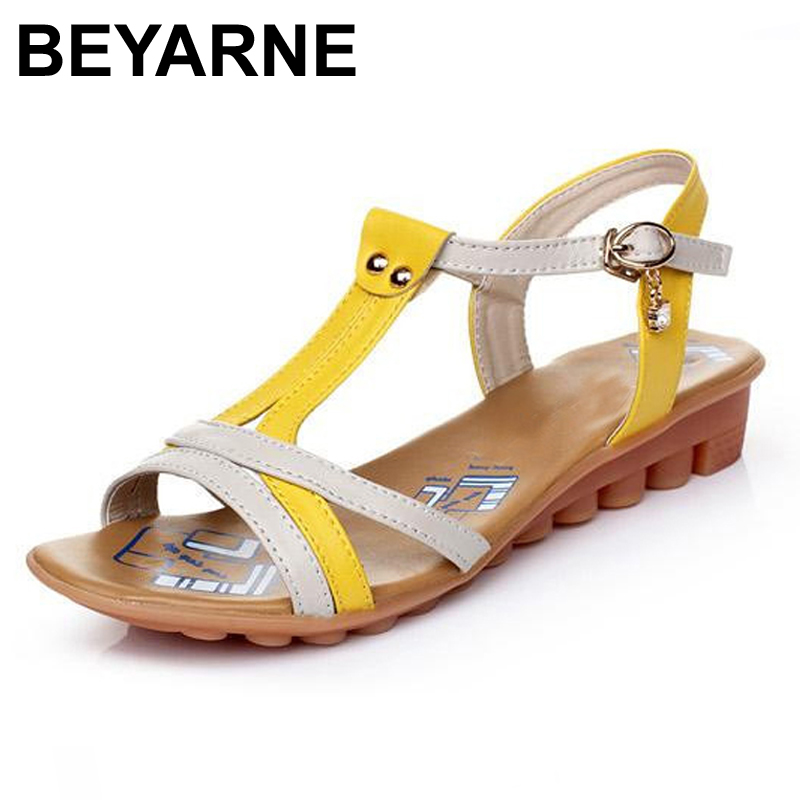 BEYARNE 2017 Genuine Leather Women Flats Sandals Summer Rome Fashion Plus Size 35-43 New Fashion Casual Solid Woman Shoes 2018 new summer shoes women sandals comfy fashion casual flats sandals for woman european rome style sandalias