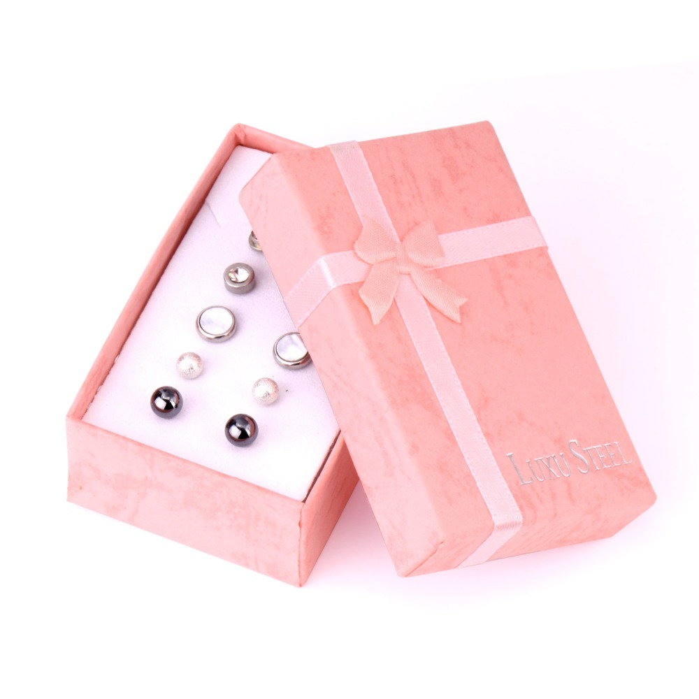 LUXUKISSKIDS Zircon small Earrings Stainless Steel 6pairs Christmas Stud Earring Sets For Women Fashion Jewelry Earings brincos