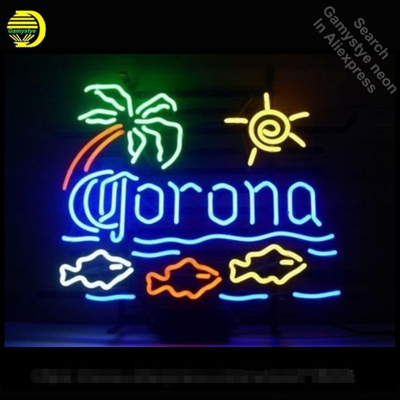 Neon Sign for Corona Fish Palm Tree Neon Bulbs Sign Beer Bar Pub Store Display Cool Neon Tube Sign handcraft Publicidad board high power c13 to universal 3 prong converter ac socket for pdu ups server iec320 c14 plug 2500w