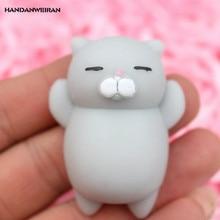 HANDANWEIRAN 1Pcs Plastic New Style Hot Squishy Toy Cartoon Cute Small Animals Squeezing Cat Jokes Vent Toys Anti-stress 5Cm