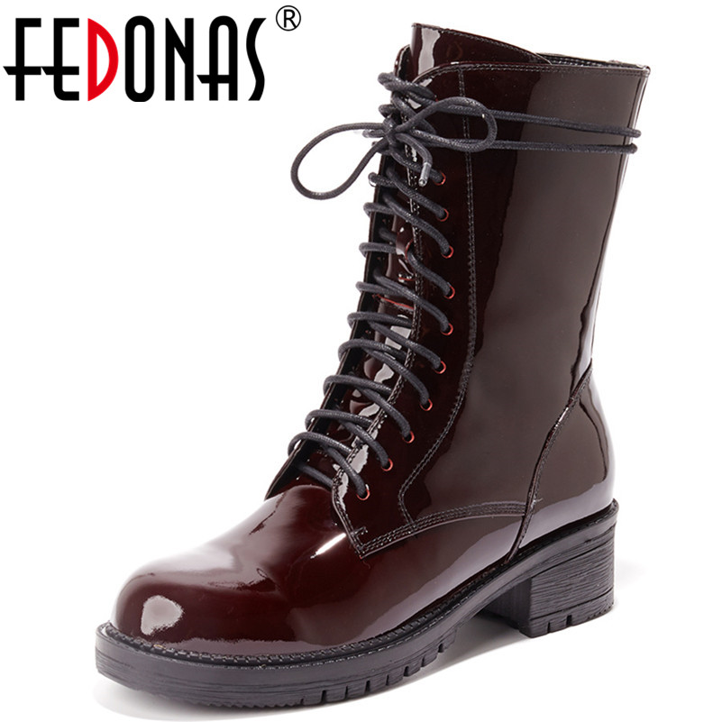 цены FEDONAS New Sexy Women Genuine Leather Mid-calf Boots Corss-tied Warm Autumn Winter Motorcycle Boots Ladies Martin Shoes Woman