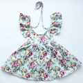 2016 Baby Girls Dresses Floral Print  Cotton Kids stripe Dresses For Girls Vintage Toddler Girl Clothing