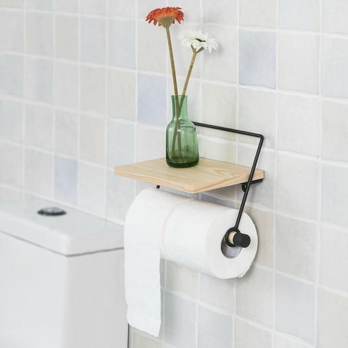 blanco montado en la pared ba/ño portarrollos de papel higi/énico con estante de almacenamiento SoBuy/® frg175-w