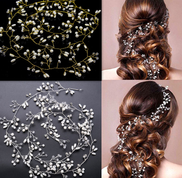 2019 Western Wedding Fashion Gold silver Headdress For Bride Handmade Top Wedding Crown Floral Pearl Hair Accessories