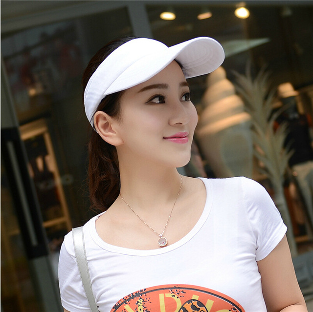 a136d1e11cb Sun Hats for men women summer solid sun visor hat with big heads wide brim  snapback caps UV protection Sport Outdoor female caps