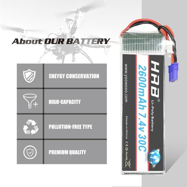 HRB Lipo 2s battery Hubsan H501S Battery 7.4V 2600mah 30C EC2 RC Drone Akku Li-Polymer For RC Quadcopter Helicopter Airplane 4