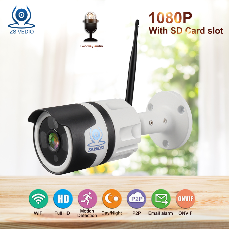 ZSVEDIO Surveillance cameras IP Camera Built-in card HD 2MP Wifi Two-way Audio Onivf H.265 Security UC Network Wireless P2PZSVEDIO Surveillance cameras IP Camera Built-in card HD 2MP Wifi Two-way Audio Onivf H.265 Security UC Network Wireless P2P
