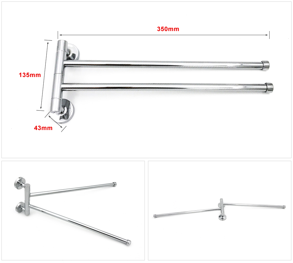 360 Degree Rotating Practical Durable Stainless Steel Bathroom Double Towel  Bar Double Towel Rack Good Quality Reasonable Price