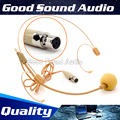 Beige Mini XLR 4 Pin TA4F Plug Connector Double Earhook Head Worn Headset Microphone Head-Mounted Mic For Shure Wireless System