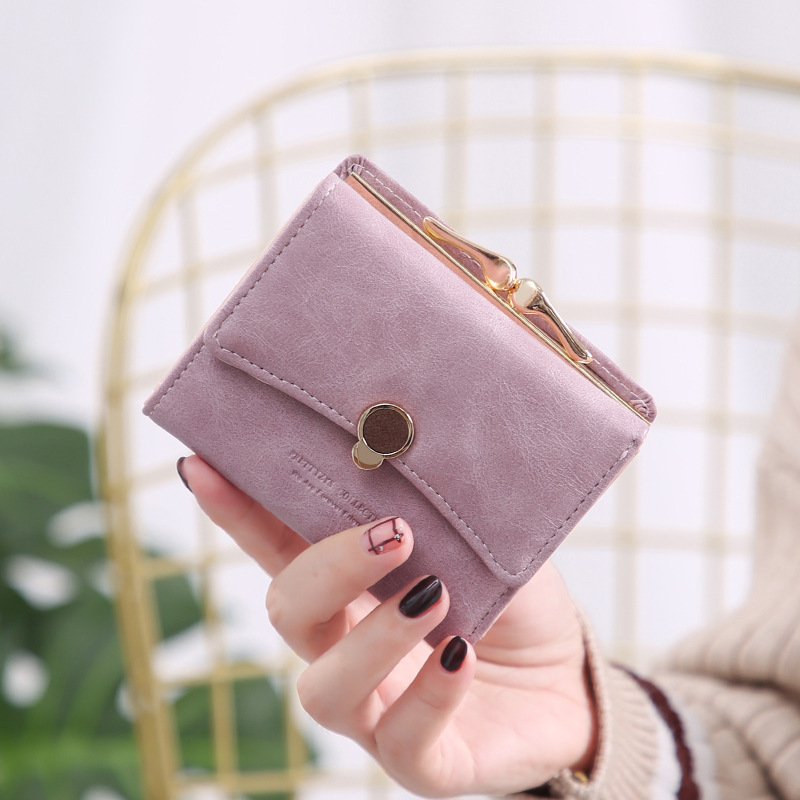 2019 New Women wallet Purse small three fold pu leather coin wallet fresh multi function women purse female coin purse wallet in Wallets from Luggage Bags