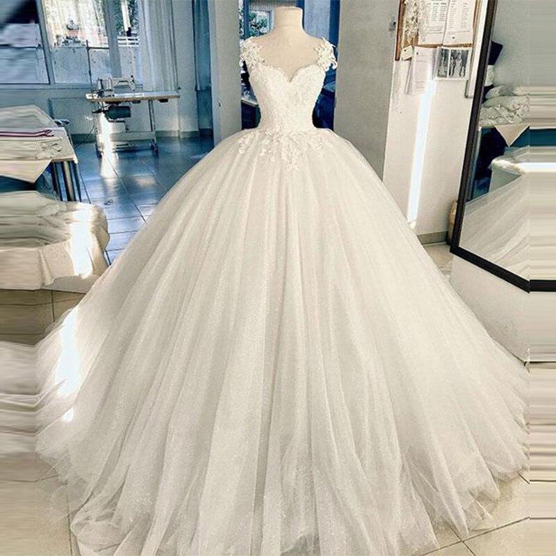 Robe De Mariee Ball GowWedding Dresses Sweetheart Tulle Wedding Gown Appliques Puffy Bridal Dress Vestido De